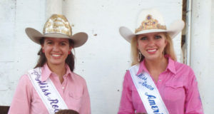 Wild Bill Hickok Rodeo 2015 - Friday Night Mutton Bustin' Winners - 2nd place – Benson Smiley, 1st place – Caelyn Biggs (back row/left to right) Allie Dwyer, Miss Rodeo K-State; Lauren Heaton, Miss Rodeo America