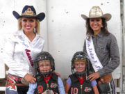 Wild Bill Hickok Rodeo 2015 - Thursday Night Mutton Bustin' Winners - 2nd place – Wyatt Frakes, 1st place – Emma Kleist (back row/left to right) Lauren Heaton, Miss Rodeo America; Allie Dwyer, Miss Rodeo K-State