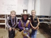 WBHR 2016: Wednesday Night Mutton Bustin Winners: (left to right) 2nd place - JJ Boze, Brooke Wallace - Miss Rodeo K-State, 1st place - Josie Keener