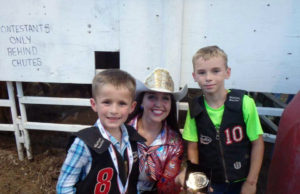 WBHR 2016: Thursday Night Mutton Bustin Winners: (Left to Right) Keynen Koochel-2nd Place, Brooke Wallace Miss Rodeo K-State, and Kayden Thrower-1st Place. (Photo taken by Connie Stillwagon)