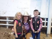 WBHR 2016: Saturday Night Mutton Bustin Winners: (left to right) second place-Cheyanne Legg, Miss Rodeo K-State-Brooke Wallace, first place-Dustin Ballard