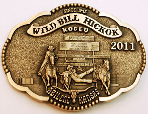 2011 WBHR Collector Series Buckle featuring Wayne Bailey, steer wrestling - 2nd buckle in the 4th Buckle Series